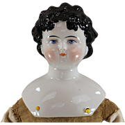 China Head Doll c1865 Dolley Madison Black Hair Ready to Dress