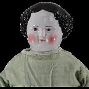 China Head Doll Civil War Era BROWN Eyes Early Costume