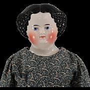 c1860s China Head Doll High Glaze Fabulous Body