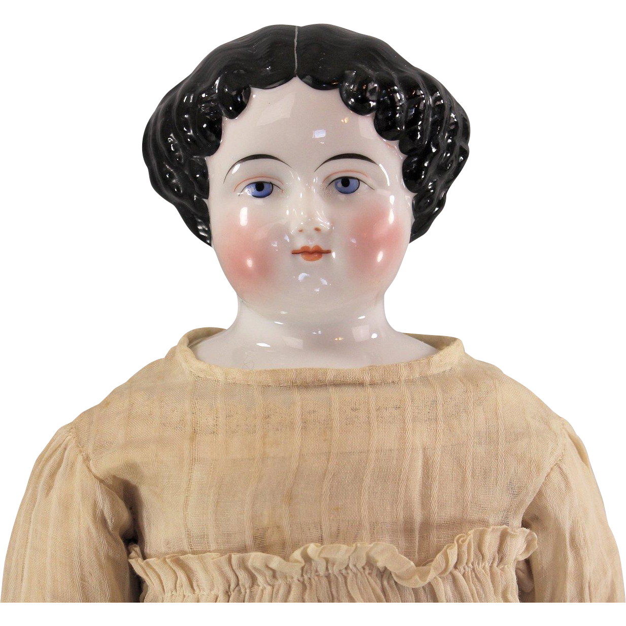 Antique China Doll Choice Head Original Body Unusual Hairstyle