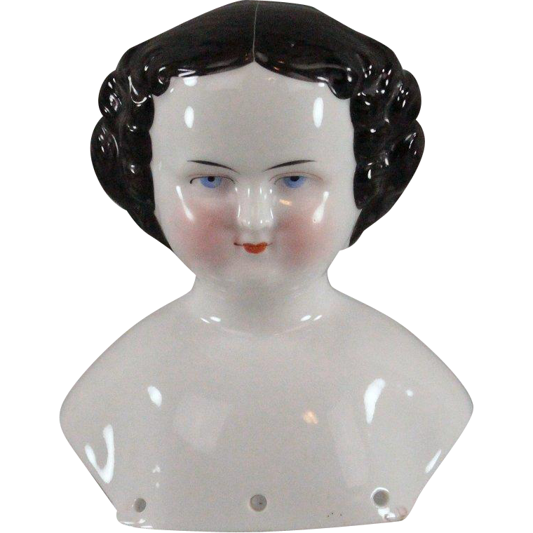 Civil War Era China Doll Shoulder Head c1860 Excellent Condition