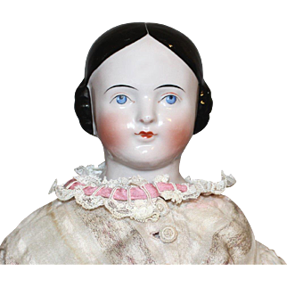 Antique China Covered Wagon Hairstyle 1850 Pink Tint