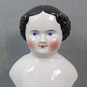 "China Doll Head 6-1/2"" Civil War Era Heavy Modeling"