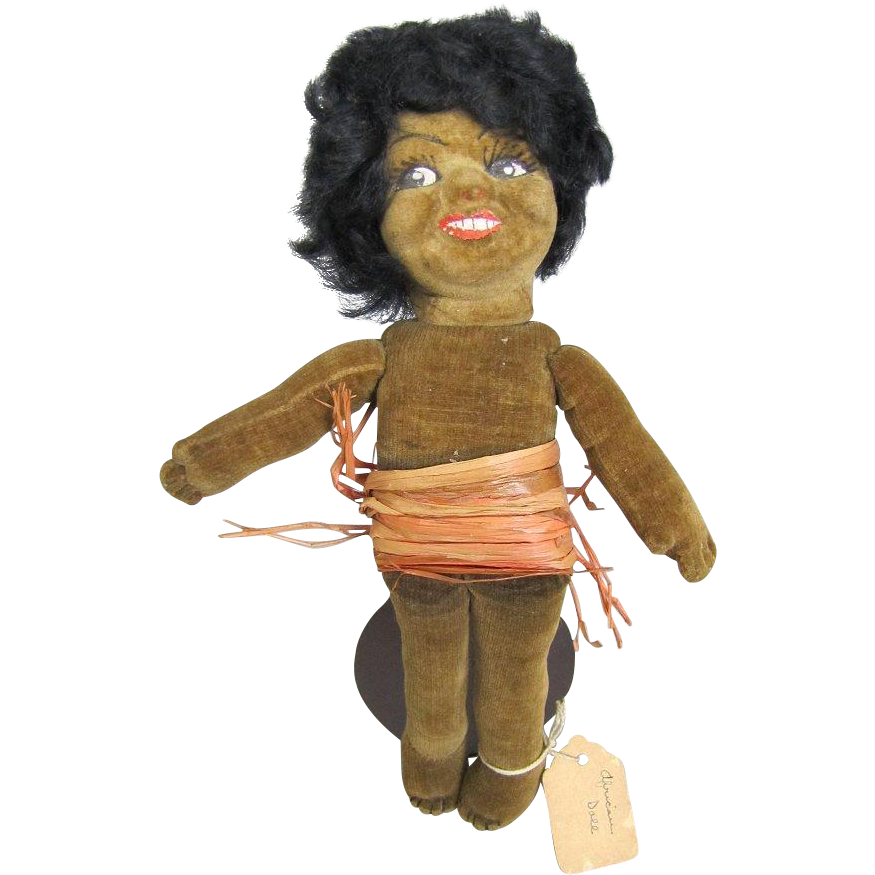 Norah Wellings Cloth Doll Black Islander 8 Inches All Original Provenance