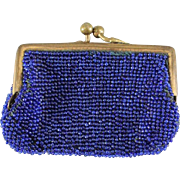 Antique Cobalt Blue Beaded Purse for Doll