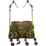 Gorgeous and Unusual Doll Purse Ornately Decorated for French Dolls