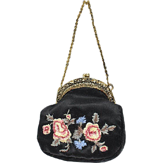 Vintage Doll Purse Embroidered Silk Gold Tone Frame