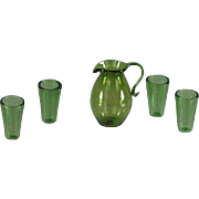Miniature Early Blown Glass Pitcher and Glasses Deep Green 1 Inch Scale Matched Set of 5 Pieces