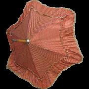 Antique Doll Parasol Original Silk Covering Red Cream