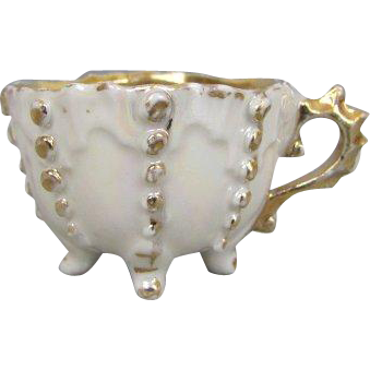 Miniature Early Footed Cup Doll Size Elegant Form with Gold Accents