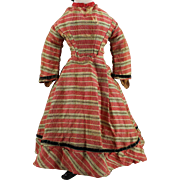 Early Wool Doll Dress Red Plaid Velvet Trim