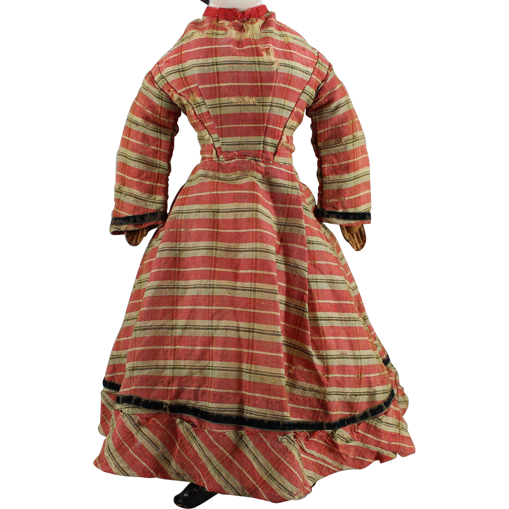 Early Wool Doll Dress Red Plaid Velvet Trim
