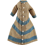 French Fashion Doll Gown Linen and Wool c1880s