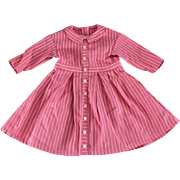 Doll Dress Pink Woven Stripe Sweet German Made