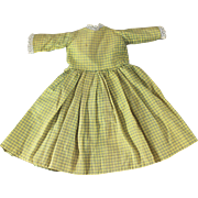 Antique Doll Dress Small Size Checked Cotton Hand Stitched