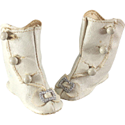 Antique Doll Boots Cream Oilcloth Silver Buckles