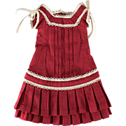 Red Dress Gorgeous Pleats and Undergarments for Smaller Doll
