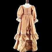 Vintage Doll Dress Gold Satin Large Size