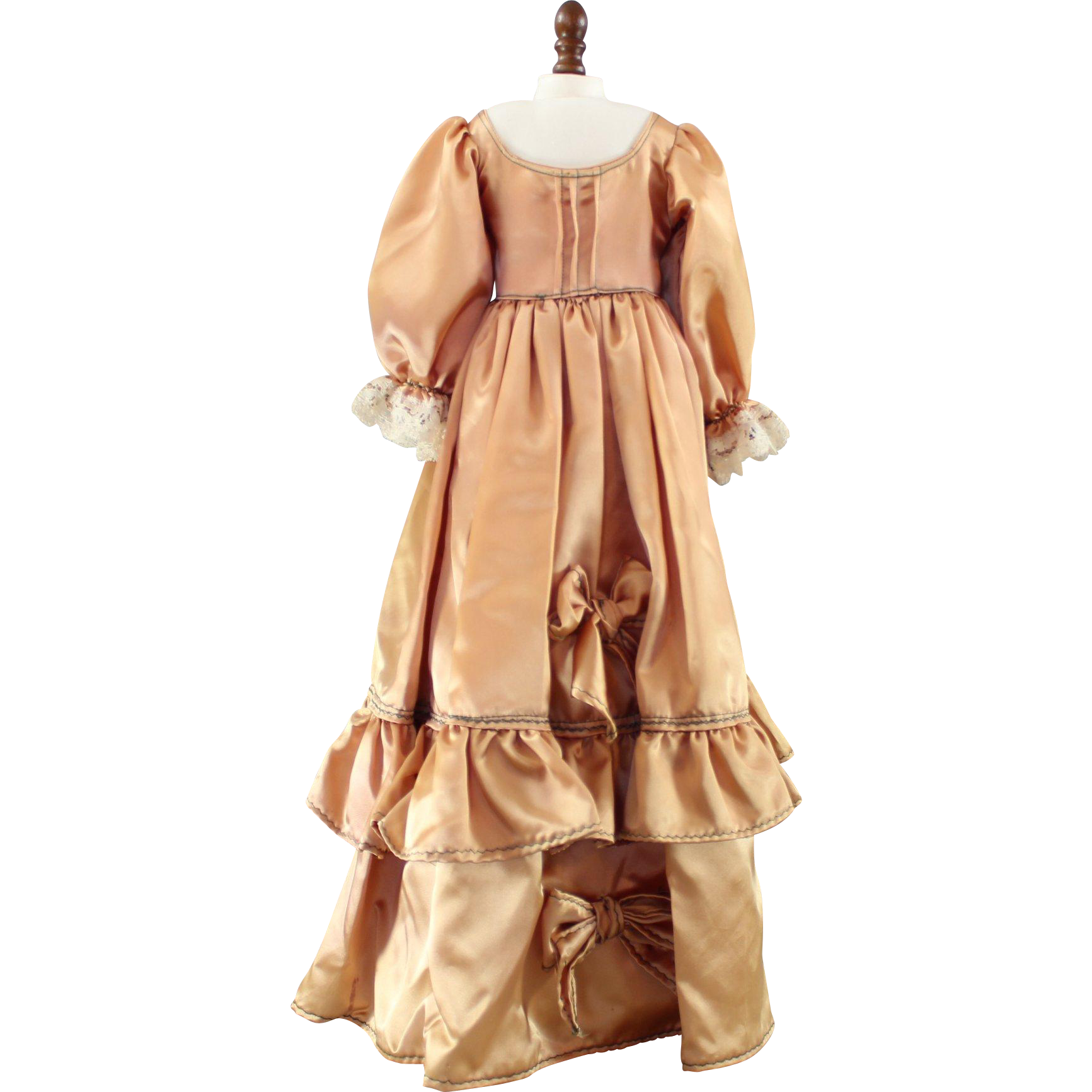 Vintage Doll Dress Gold Satin Large Size