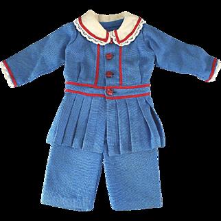 Vintage Boy Doll Suit Blue Linen Red Trim Adorable