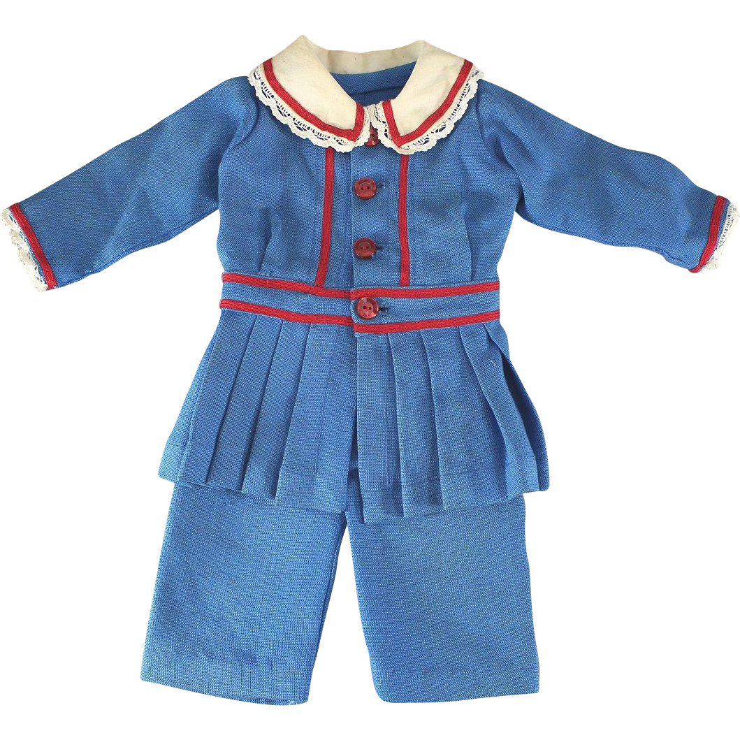 Vintage Boy Doll Suit Blue Linen Red Trim Adorable