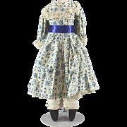 Vintage Doll Dress Blue White Plus Undergarments