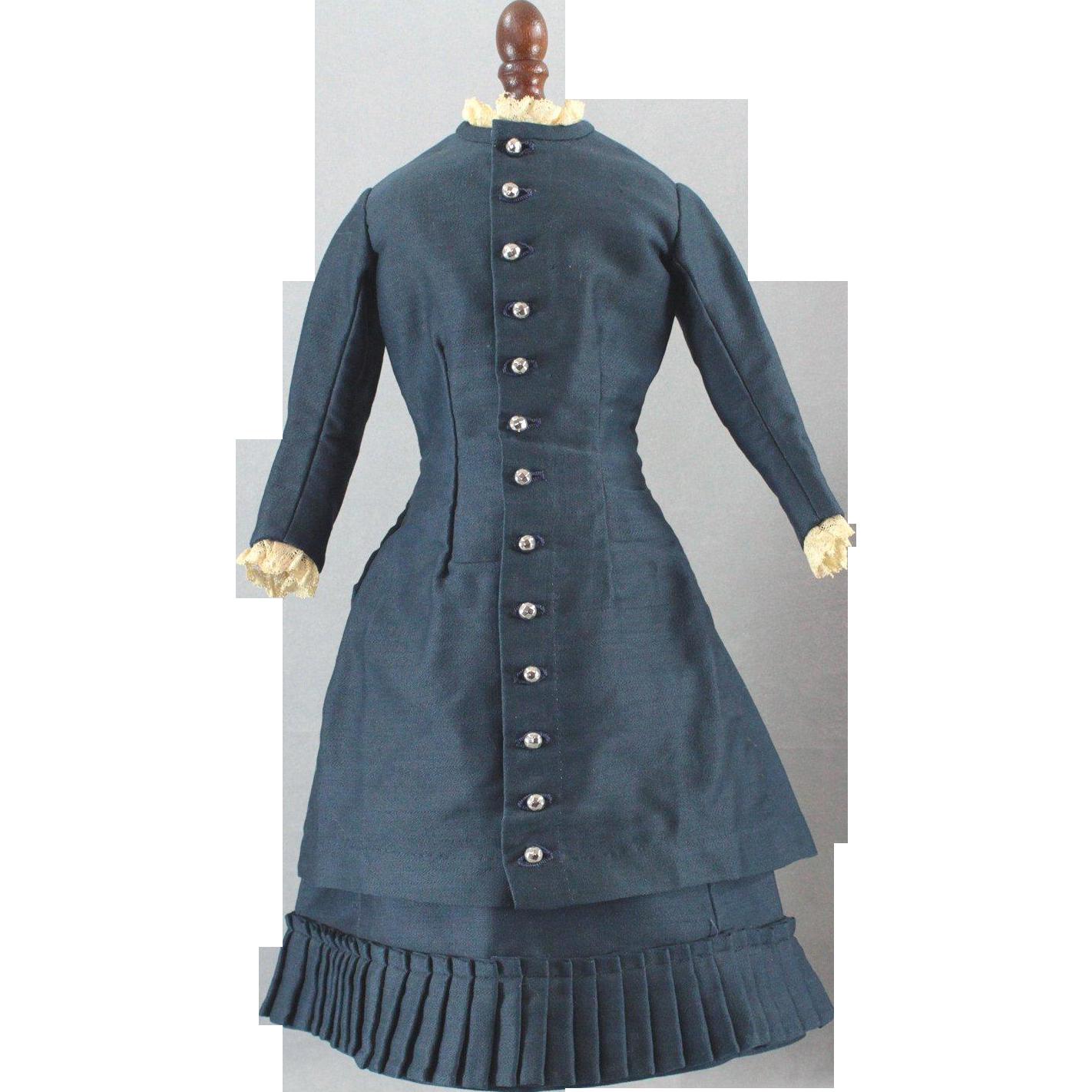 Fashion Doll Costume Antique Fabrics Deep Sapphire Blue Silk