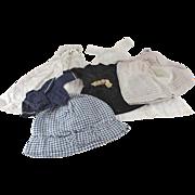 Antique Doll Clothes Six Pieces Medium Sizes