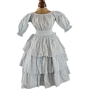 Antique Doll Dress Blue White Tiered Skirt Beautiful Full Gathers