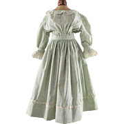 Antique Doll Dress Pale Green Windowpane White Lace Trim Larger Size
