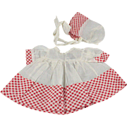 Smaller Doll Dress and Matching Bonnet Factory Made Untagged