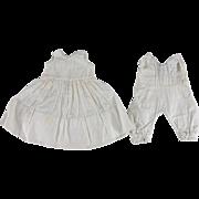 Vintage Doll Undergarment Set Onesie Set Tatted Trim