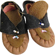 Vintage Suede Doll Moccasins with Beading Free Shipping US Only