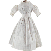 Antique Doll Dress Crossbarre Dimity White Cotton Lace Trim