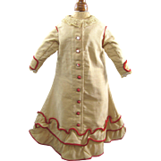 Early Doll Dress Fine Wool Fully Lined Red Accents