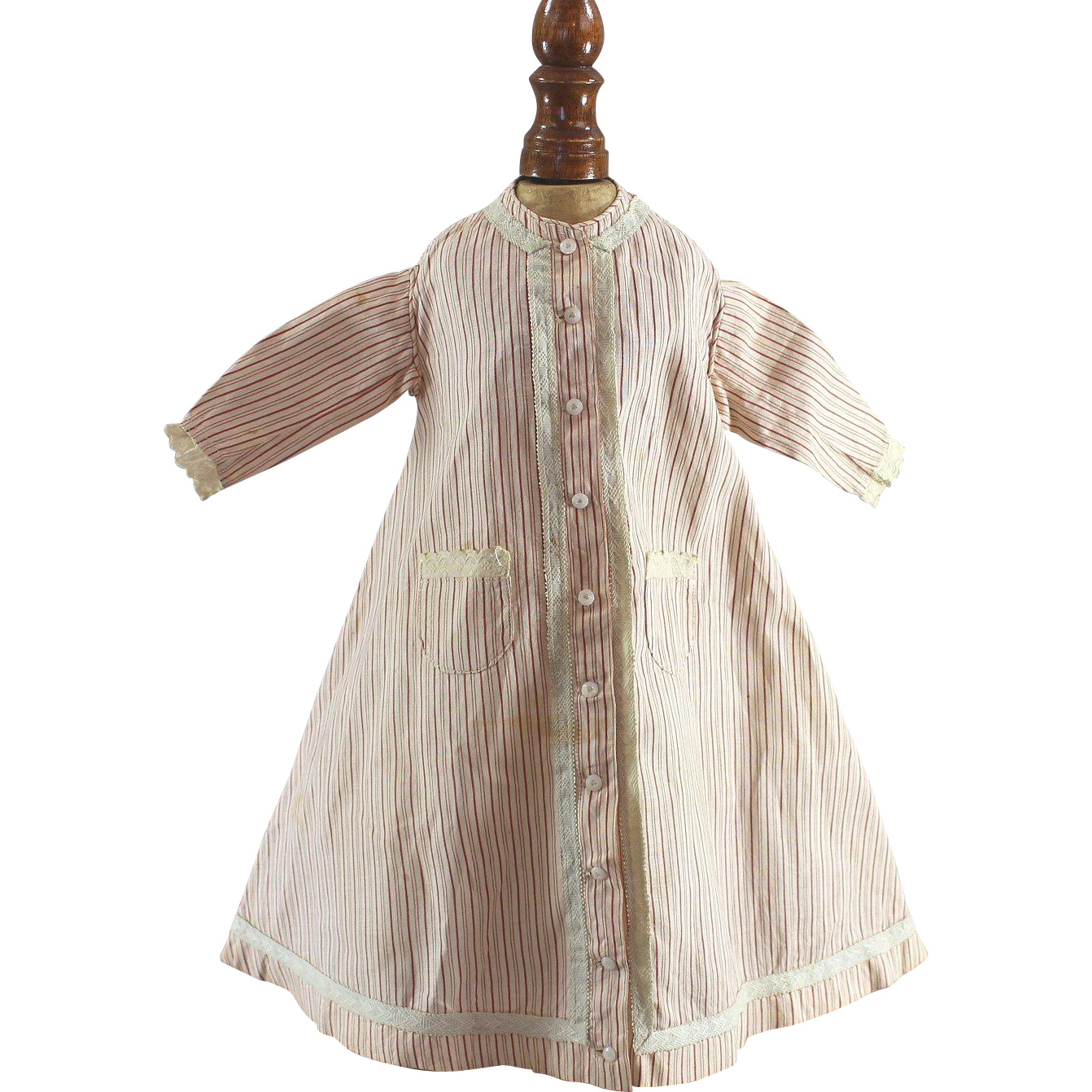 Early Wrapper Doll Dress Fashion Cotton Red Cream Stripes Quality Construction