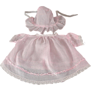 Baby Doll Dress Matching Hat Pink Batiste Compo Factory Made