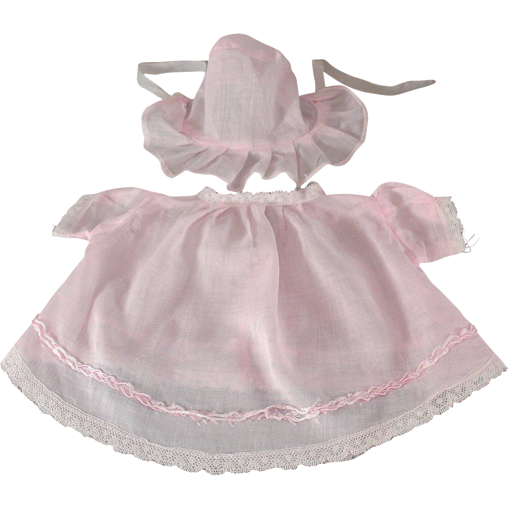 Baby Doll Dress Matching Hat Pink Batiste Compo Factory Made 1920s