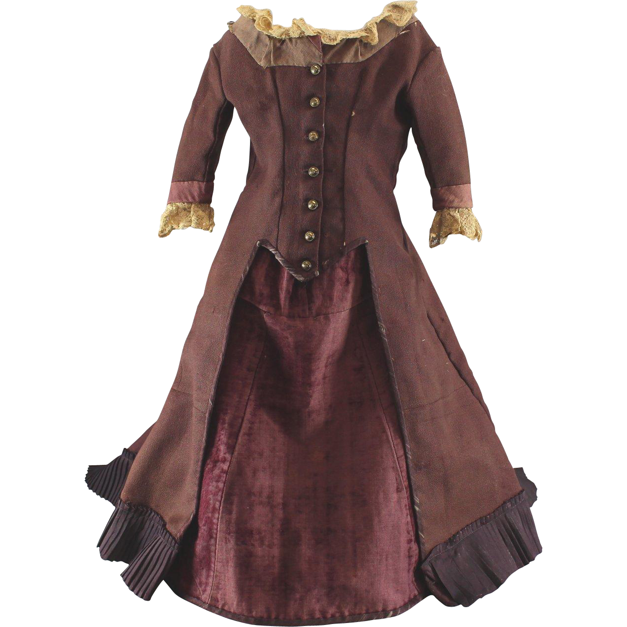 Antique French Fashion Doll Gown Large Size c1870s