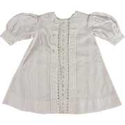 Antique Doll Dress Pink White Woven Stripe Cotton Placket Front Unusual Collar
