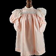Vintage Silk Doll Dress Peach Color Lace Trim