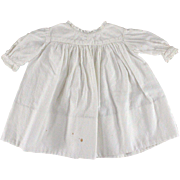 Antique Doll Dress Textured Cotton Lace Trim Welted Seams