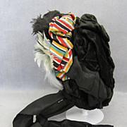 Antique Silk Velvet Hat for Large Doll Victorian Beauty