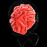 Doll Bonnet Wired Black & Coral Gorgeous Colors LAST CHANCE