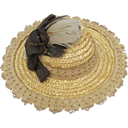 Vintage Straw Doll Hat Lovely Decorations