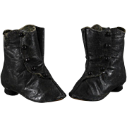 Antique Doll Boots Black Kid Leather