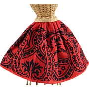 Red Wool Doll Skirt Early Design Resembles Soutache