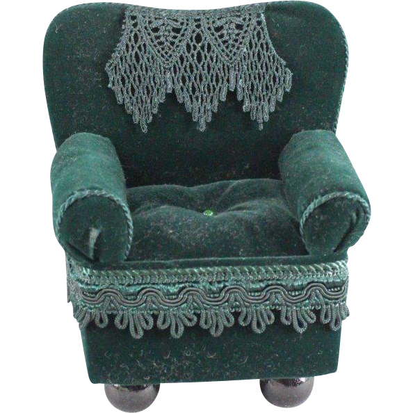 Vintage Upholstered Doll Chair Deep Green Velvet with Lace and Trim