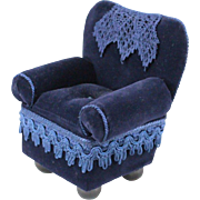 Vintage Upholstered Doll Chair Deep Blue Velvet with Lace and Trim