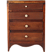 Early Miniature Chest of Drawers c1820s Cherry Bracketed Feet